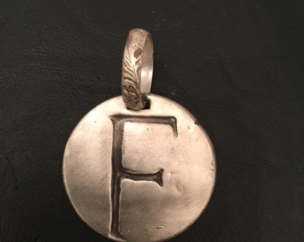 Sterling Silver Initial pendant with Sterling Silver Bail-any letter