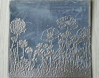 Blue and silver embossed wildflowers dandelion meadow piece 9cm x 9cm