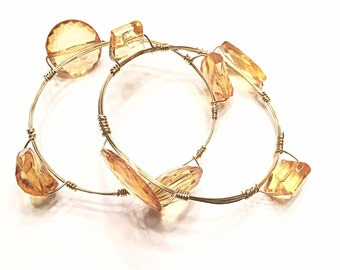 Simulated Amber Stone with Gold Accent Wire