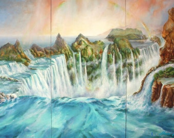 Contemporary Three Panel  Landscape Fantasy of Africa's Victoria Falls  nice for Home Decor  Titled  'The Overseer'