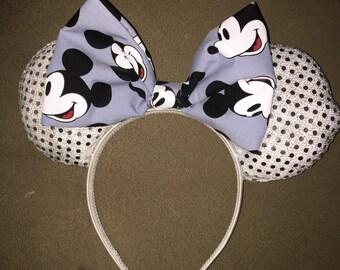 Custom made sparkle Mickey Mouse ears