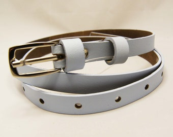 Light blue retro belt, leather belt, rectangular buckle, 1 cm