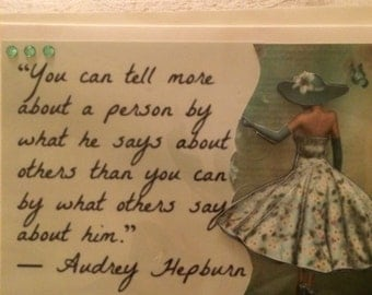 Handmade card with Audrey Hepburn quote