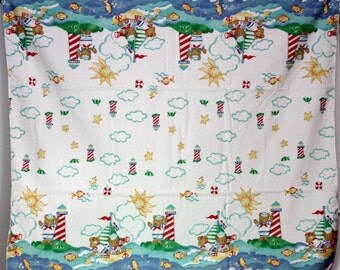 Vintage Baby Blanket with  Bears, Sailboats, and Lighthouse