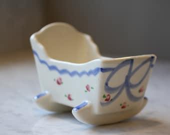 Vintage Baby Cradle Vase 1950s