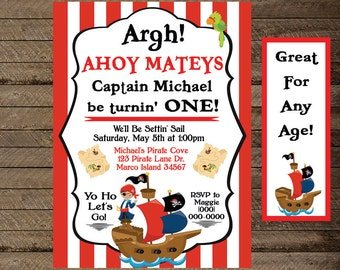 Pirate Invite, Pirate Invitation, Boy's Pirate Birthday, Boys Birthday invitation, First birthday, second, third, fourth, pirate theme party