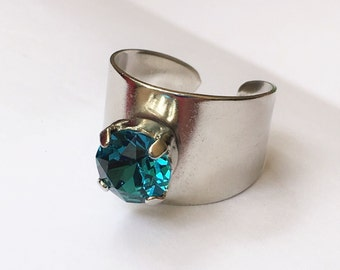 Blue Zircon 8.5mm wide band ring