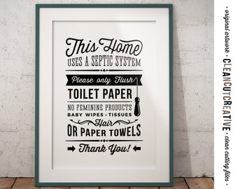 Bathroom Sign Septic System - Only Flush Toilet Paper - PDF JPG PNG jpeg - Printable Digital Artwork - retro/vintage sign- instant download