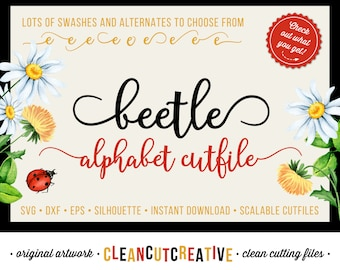 Full Alphabet SVG Fonts Cutfile - Modern Handwritten Calligraphy Script cricut font - Studio3 DXF EPS Silhouette Cameo - clean cutting files