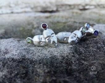 EARTH MAN sterling silver stud earrings with garnets