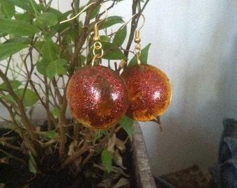 Orange colored resin earrings