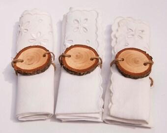 Napkin Holders for Linen Napkins,  Woodslice Napkin Rings, Wedding Napkin Holders, Wedding Napkin Rings, Christmas Napkin Holders