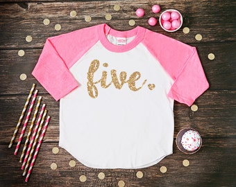 Five Year Old Birthday Shirt | Fifth Birthday Girl Shirt | 5 Year Birthday Shirt | 5th Birthday Shirt | Birthday Girl Outfit | Raglan Shirt