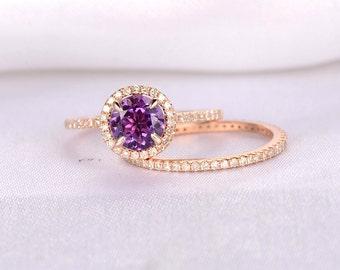 2pcs Wedding Ring Set,Amethyst Engagement ring,14k Rose gold,Full eternity diamond Matching Band,6.5mm Round,Personalized for her/him,Custom