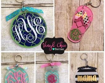 Monogrammed Keychain, personalized keychains, mason jar, acrylic keychain, chevron, quatrefoil, vinyl keychain, vinyl gift, keychain gift