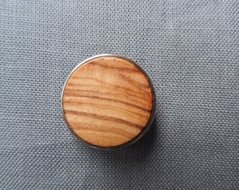 Handmade click button in olive wood