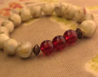 Neutral Beaded Bracelet with Red Perfect for Stacking