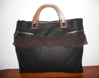 Rigid bag by hand, Brown fabric, Ruffles, faux bone handles beige, zip