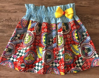 Super Girl Skirt, Wonder Woman Skirt, Bat Girl Skirt, Three Super Girls Skirt,