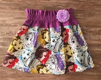 Princess Skirt, Princesses Skirt, Cinderella Skirt, Snow White Skirt, Belle Skirt, Rapunzel Skirt , Four Princesses Skirt