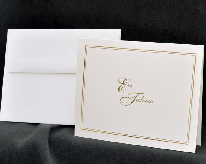 Featured listing image: Gold Foil Printed Personalized Stationery Set & Note Cards | The Enchanted Envelope