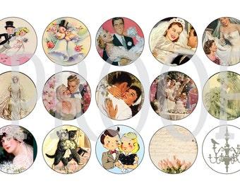 Digital Bottle Cap Image Sheet - Wedding Vintage - 1 Inch Digital Collage - Instant Download