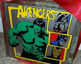 Avengers 8x8 lighted glass block