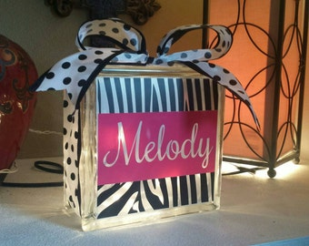 Personalized 8x8 zebra lighted glass block