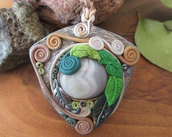 Spiral of life necklace, Agate grey, healing gemstone pendant, handmade mystic jewelry, love of nature