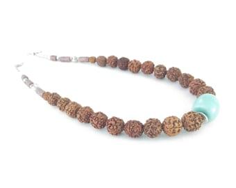 Rudraksha with aventurine Moroccan artisan necklace
