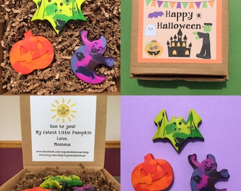 Personalized Happy Halloween Jumbo Crayon Gift Set Unique Halloween Gift Boo to you Halloween Crayons