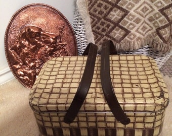Vintage metal picnic basket from 1950's, very cool storage piece