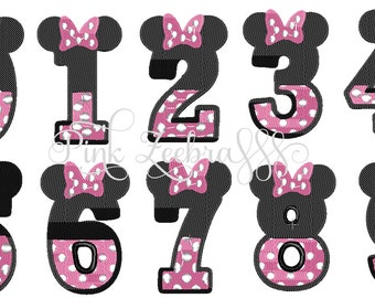 Themed: Minnie Mouse Numbers Embroidery Design