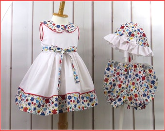 Summer Dress and Sun Hat, Cool, Comfortable, Size 12 Months, Colorful, Crisp, Handmade, 3 Piece Ensemble, Casual, Bright, White, Red,