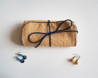 Cotton travel jewelry pouch Japanese saki yellow mustard and Navy Blue / storage earrings, necklaces, rings