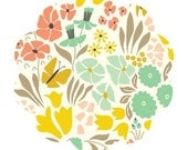 Organic cotton fabric. Multi floral hyde park print fabric, park life collection for cloud 9 fabrics. Fabric by the yard. Modern floral