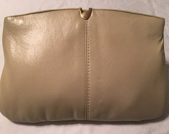 1950s Clutch Purse Beige Leather Vintage Evening Bag