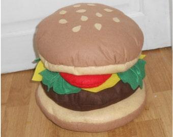 READY TO SHIP: handmade hamburger plush, hamburger pillow out felt