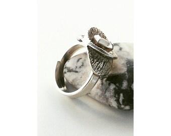 Bengt Hallberg vintage silver ring with a rock crystal.