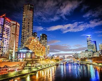Melbourne photography fine art photograph city wallart urban decor views to Southgate Yarra River  FREE SHIPPING within AUSTRALIA
