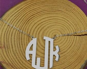 Circle initial necklace, custom initila necklace, sterling silver initial necklace, 3 initial necklace, custom circle initial necklace, gift