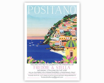 Positano, Italy Destination Invites - Single sided with envelopes. Positano, Amalfi Coast, Italian wedding invitations. Cliffside, sea