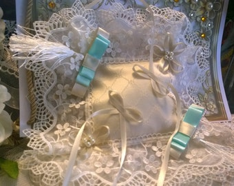 Ring pillow with Embroidered Tulle lace