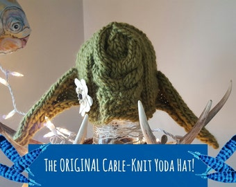 Padawan Yoda Hat, cable knit yoda hat, best yoda hat, Unisex Yoda Photo Prop