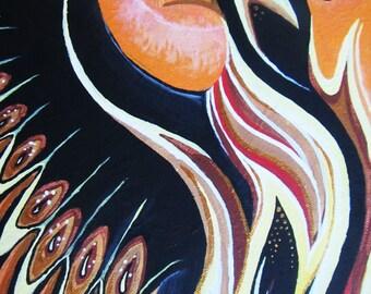 "Pheonix Original Acrylic on canvas 9""x12"""