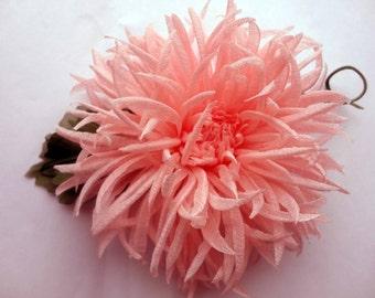 Fabric flower. Pale pink chrysanthemum. Flower brooch