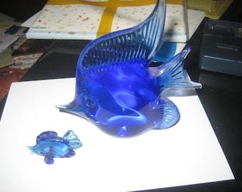 Cobalt Blue Glass Angel Fish, set of 2