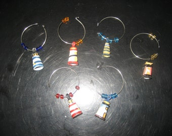 Lighthouse/Beads Wine Glass Charms