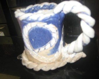Large Nautical Hand Molded Clay Rope Mug