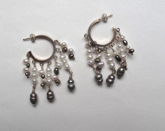 Square sterling hoops with 7 strands of pearls
